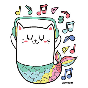 cheap Wall Stickers-Home Decoration Cartoon Music Cat Mermaid Children Bedroom Wall Stickers Creative Door Stickers