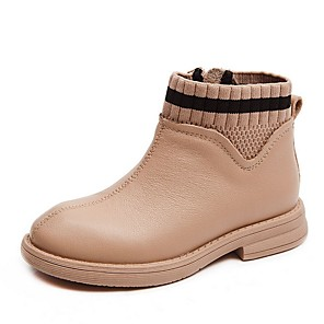 cheap Kids' Boots-Girls' Comfort PU Boots Little Kids(4-7ys) Black / Pink Summer / Booties / Ankle Boots