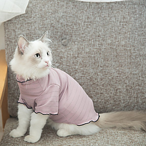 cheap Dog Clothes-Cat Costume Shirt / T-Shirt Pajamas Stripes Casual / Sporty Cute Party Casual / Daily Dog Clothes Warm Blue Pink Costume Fabric XS S M L