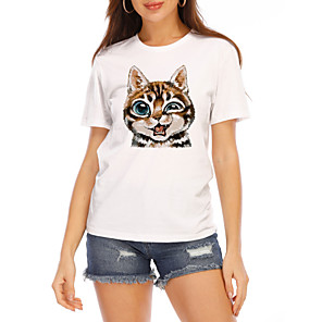 cheap Anime Costumes-Women's T-shirt Cat Graphic Prints Printing Round Neck Tops Slim 100% Cotton Basic Top White