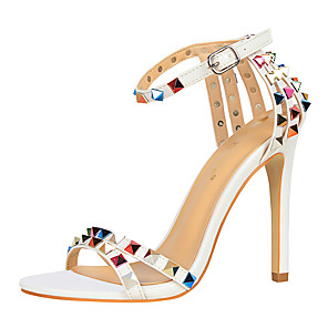 cheap Women's Heels-Women's Sandals Summer Stiletto Heel Open Toe Daily Rivet Solid Colored PU Nude / White / Black / Sexy Shoes
