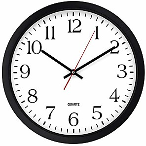 cheap Wall Clocks-black wall clock, silent non ticking - 16 inch extra large quality quartz battery operated round easy to read home/office/business/kitchen/classroom/school clock & #40;16