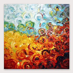 cheap Abstract Paintings-IARTS®Hand Painted Color circles Oil Painting   with Stretched Frame For Home Decoration