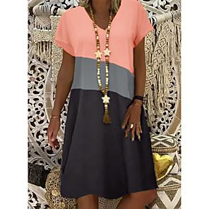 cheap Women's Sandals-Women's Shift Dress Knee Length Dress - Short Sleeve Color Block Summer V Neck Casual 2020 Yellow Orange Khaki S M L XL XXL XXXL XXXXL XXXXXL