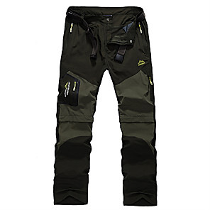 cheap Hiking Trousers & Shorts-Men's Hiking Pants Convertible Pants / Zip Off Pants Summer Outdoor Breathable Quick Dry Sweat-wicking Comfortable Pants / Trousers Bottoms Black Army Green Khaki Camping / Hiking Hunting Fishing S M