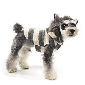 cheap Dog Clothes-Dog Hoodie Pajamas Stripes Casual / Sporty Cute Sports Casual / Daily Dog Clothes Warm Black / White Costume Polyester S M L XL