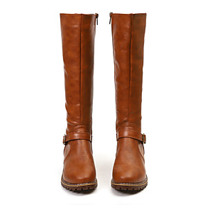 cheap Women's Boots-Women's Boots Knee High Boots 2020 Cuban Heel Round Toe Casual Basic Vintage Daily Solid Colored PU Knee High Boots Black / Yellow / Brown