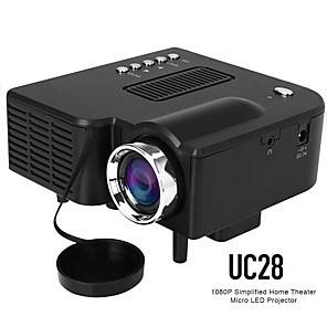 voordelige Projectors-uc28 led mini projector 320x240 pixels ondersteunt 1080p hdmi usb audio draagbare projector home media videospeler beamer uc28 vs yg300