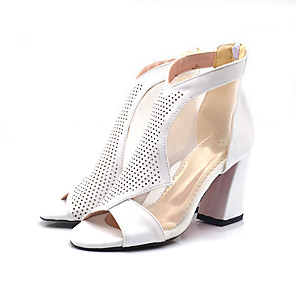 cheap Women's Boots-Women's Heels Spring / Summer Pumps Peep Toe Casual Sexy Sweet Daily Party & Evening Solid Colored PU White / Black