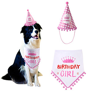cheap Dog Clothes-Dog Cat Bandanas & Hats Dog Bandana & Dog Hat Dog Bandana Cartoon Letter & Number Party Cute Christmas Party Dog Clothes Adjustable Red Pink Costume Fabric / Birthday / Birthday