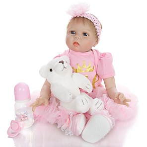 cheap Reborn Doll-KEIUMI 22 inch Reborn Doll Baby & Toddler Toy Reborn Toddler Doll Baby Girl Gift Cute Lovely Parent-Child Interaction Tipped and Sealed Nails Half Silicone and Cloth Body with Clothes and Accessories