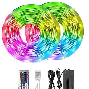 tanie Taśmy świetlne LED-KWB 10 m Taśmy świetlne RGB 600 Diody LED 5050 SMD 10mm RGB Pilot zdalnego sterowania Nadaje się do krojenia Przygaszanie 12 V / Możliwość połączenia / Odpowiednie do samochodu / Samoprzylepne / IP44