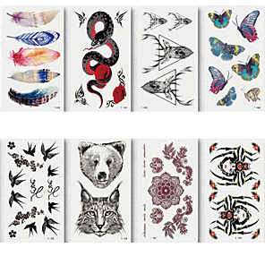 cheap Tattoo Stickers-6 Sheets Randomly Tattoo Designs Temporary Tattoos Small Size Tattoo Stickers Waterproof And Environmentally Colorful Feather Butterfly Snake Deer Pattern Design Tattoo Stickerst161-168