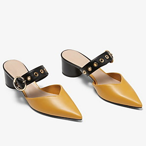 cheap Women's Sandals-Women's Clogs & Mules Cuban Heel Pointed Toe Daily Solid Colored PU Summer White / Black / Yellow