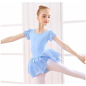 cheap Ballet Dancewear-Ballet Dress Ruffles Split Girls' Training Performance Short Sleeve Natural Cotton