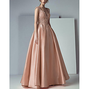 cheap Ballroom Dancewear-A-Line Beautiful Back Floral Engagement Prom Dress V Neck Sleeveless Floor Length Lace Satin with Pleats Appliques 2020