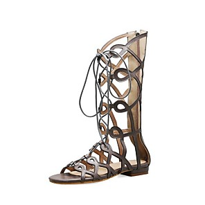 cheap Women's Sandals-Women's Sandals Roman Shoes / Gladiator Sandals Summer Flat Heel Open Toe Daily PU Black / Khaki / Brown