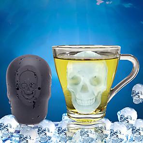 baratos novidade ferramentas de cozinha-Dia das bruxas grade de gelo bolo assando buraco único crânio grade de gelo sílica gel molde de gelo mousse molde ferramentas de gelo corpo inteiro silicone bonito partido noite drinkware