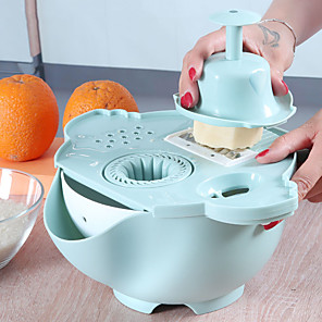 cheap novelty kitchen tools-Magic Rotate Vegetable Cutter With Drain Basket Multi-functional Kitchen Juicing Veggie Fruit Shredder Grater Slicer