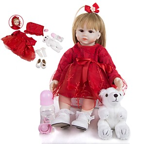 cheap Reborn Doll-KEIUMI 19 inch Reborn Doll Baby & Toddler Toy Reborn Toddler Doll Baby Girl Gift Cute Lovely Parent-Child Interaction Tipped and Sealed Nails Half Silicone and Cloth Body with Clothes and Accessories