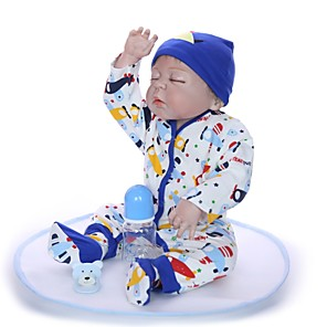 cheap Reborn Doll-KEIUMI 22 inch Reborn Doll Baby & Toddler Toy Reborn Toddler Doll Baby Boy Gift Cute Washable Lovely Parent-Child Interaction Full Body Silicone 23D72-C05 with Clothes and Accessories for Girls