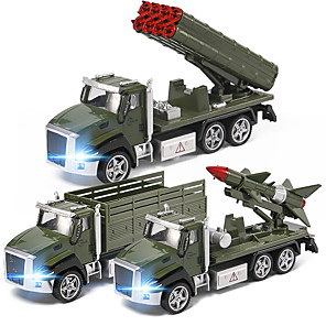 cheap Building Blocks-Construction Truck Toys Pull Back Car / Inertia Car Pull Back Vehicle Military Vehicle Rocket & Spaceship Missile Truck Sounds Lights Drop-resistant Alloy Mini Car Vehicles Toys for Party Favor or