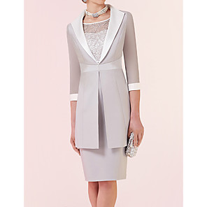 cheap Buy More, Save More-Two Piece Sheath / Column Mother of the Bride Dress Elegant Jewel Neck Knee Length Lace Satin 3/4 Length Sleeve with Color Block 2020