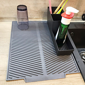 cheap novelty kitchen tools-Silicone Square Dish Drying Mat Heat Resistant Draining Tableware Dishwaser Durable Cushion Pad Dinnerware Table Mat Placemat