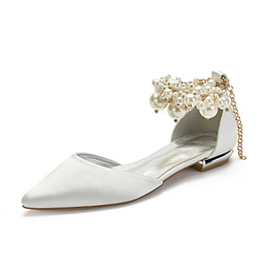 cheap Wedding Shoes-Women's Wedding Shoes Spring / Summer Flat Heel Pointed Toe Classic Sweet Wedding Party & Evening Imitation Pearl Solid Colored Satin White / Black / Purple