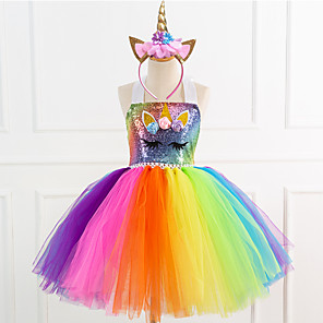 cheap Movie & TV Theme Costumes-Kids Girls' Street chic Sophisticated Unicorn Rainbow Patchwork Halloween Sequins Patchwork Sleeveless Knee-length Dress Rainbow