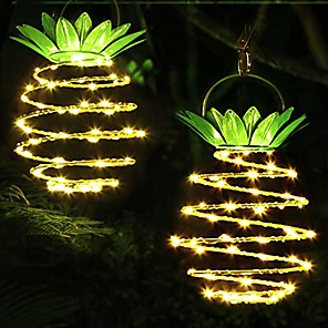 cheap LED String Lights-Pineapple Outdoor Solar Lights Waterproof Garden Lights Solar Landscape Spotlight for Garden Patio Swimming Pool Courtyard Warm White 24 LED