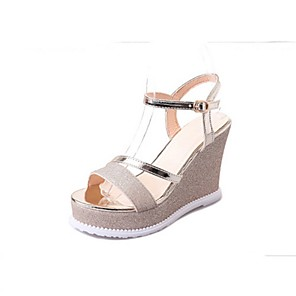 cheap Women's Sandals-Women's Sandals Summer Wedge Heel Open Toe Daily Solid Colored PU Black / Gold / Silver