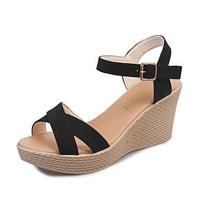 cheap Women's Sandals-Women's Sandals Summer Wedge Heel Peep Toe Daily Solid Colored PU Wine / Black / Beige