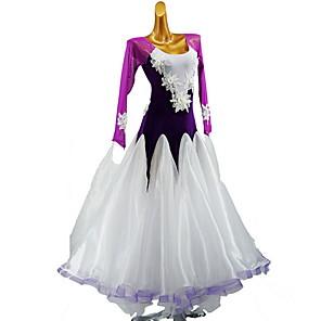 cheap Ballroom Dancewear-Latin Dance Dress Split Joint Girls' Training Daily Wear Long Sleeve Cotton