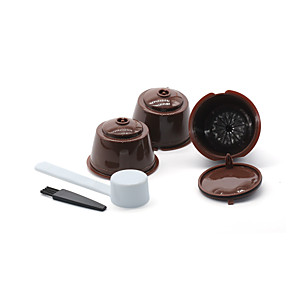 cheap novelty kitchen tools-Reusable Coffee Capsule Filter Cups 3Pcs with Refillable Spoon and Cleaning Brush