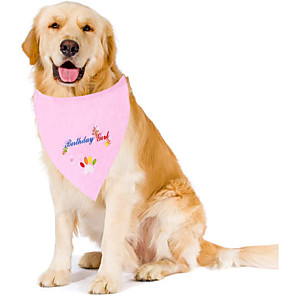 cheap Dog Clothes-Dog Cat Bandanas & Hats Dog Bandana Dog Bibs Scarf Letter & Number Casual / Sporty Cute Christmas Birthday Dog Clothes Breathable Costume Cotton M
