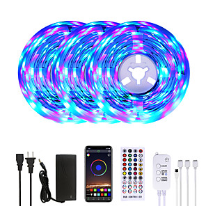 baratos Faixas de Luzes LED-Mashang 15m (3 * 5m) rgb led strip lights music sync smart led lights luzes tiktok 900leds smd 2835 mudança de cor com 40 teclas controlador remoto bluetooth para quarto de casa tv back lights diy