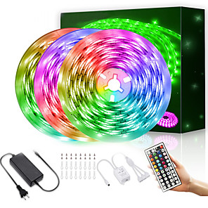 cheap Projectors-LED Strip Lights  15M 2835 RGB Light Strips Color Changing Rope Lights Flexible Tape Light Kit with 44 Keys Remote Controller & 12V Power Supply