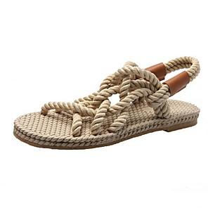 cheap Women's Sandals-Women's Sandals Roman Shoes / Gladiator Sandals Summer Flat Heel Open Toe Daily PU Almond / Black