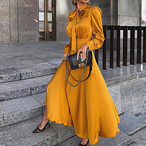 cheap Women's Sandals-Women's Sheath Dress Maxi long Dress - Long Sleeve Bow Ruched Summer Casual Daily Slim 2020 Black Red Yellow S M L XL