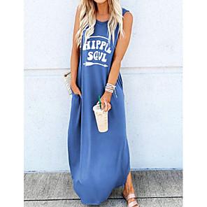 cheap Maxi Dresses-Women's Sundress Maxi long Dress - Sleeveless Letter Print Summer Casual Vacation 2020 Black Blue Red Green Brown S M L XL XXL XXXL