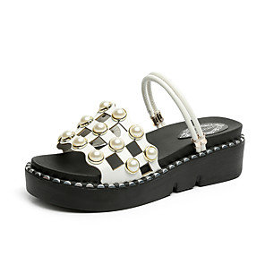 cheap Women's Sandals-Women's Sandals Summer Wedge Heel Open Toe Daily Outdoor Leather White / Black