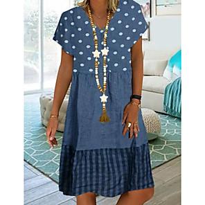 cheap Women's Heels-Women's Plus Size Knee Length Dress - Short Sleeve Polka Dot Print Summer Casual Vacation Blue Khaki Green M L XL XXL XXXL XXXXL XXXXXL