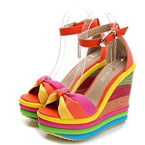 cheap Wedding Shoes-Women's Sandals Summer Wedge Heel Round Toe Daily PU Blue / Orange