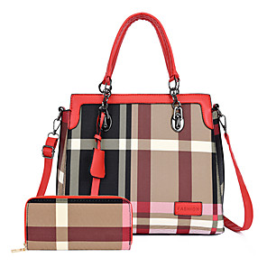cheap Handbag & Totes-Women's Bags PU Leather Bag Set 2 Pieces Purse Set Tassel / Zipper for Daily / Date Black / Blue / Red / Bag Sets / Fall & Winter