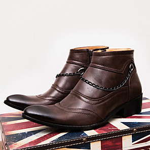 cheap Men's Boots-Men's Winter Business / British Daily Party & Evening Boots Walking Shoes Faux Leather Non-slipping Wear Proof Mid-Calf Boots Dark Brown / Black