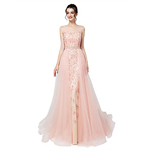 cheap Island Lights-Mermaid / Trumpet Elegant Luxurious Engagement Formal Evening Dress Illusion Neck Sleeveless Court Train Tulle with Sash / Ribbon Crystals Appliques 2020