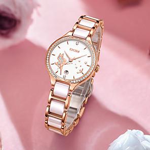 cheap Historical & Vintage Costumes-DOM Women's Quartz Watches Quartz Modern Style Stylish Elegant Water Resistant / Waterproof Ceramic Analog - Gold Silver / Calendar / date / day