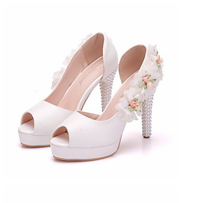 cheap Wedding Shoes-Women's Wedding Shoes Summer Stiletto Heel Peep Toe Wedding Daily Satin Flower Solid Colored PU White
