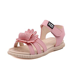 cheap Kids' Sandals-Girls' Sandals Comfort PU Little Kids(4-7ys) Yellow / Pink / Beige Summer